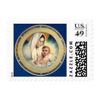 Navidad, Madonna y niño de Relgious del vintage Estampilla
