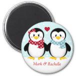 Navidad Magent de los pingüinos del día de fiesta Imanes De Nevera