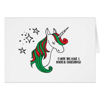 Navidad mágico del unicornio tarjeta de felicitación