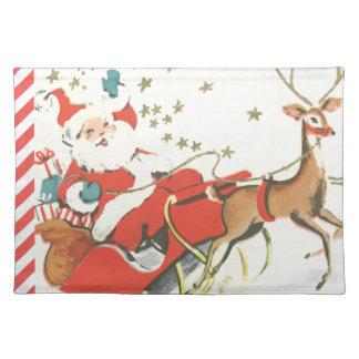 Navidad mágico Papá Noel del vintage y estrellas Mantel