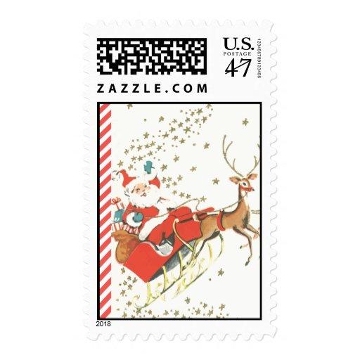 Navidad mágico Papá Noel del vintage y estrellas Sellos