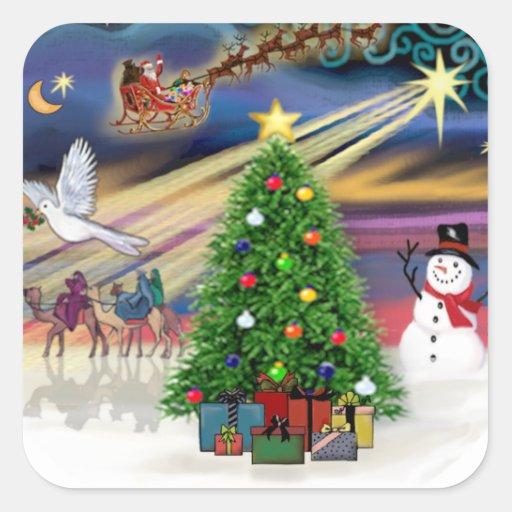 Navidad mágico calcomanías cuadradass personalizadas