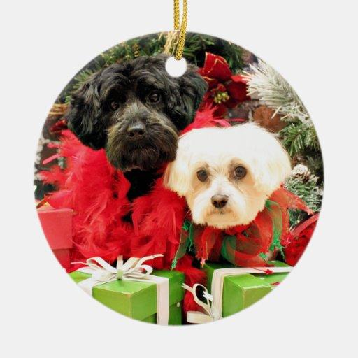 Navidad - maltés - Annie y YorkiePoo - Hannah Adorno Navideño Redondo De Cerámica