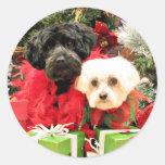 Navidad - maltés - Annie y YorkiePoo - Hannah Etiquetas Redondas