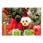Navidad - maltés - Annie y YorkiePoo - Hannah Tarjeta De Felicitación