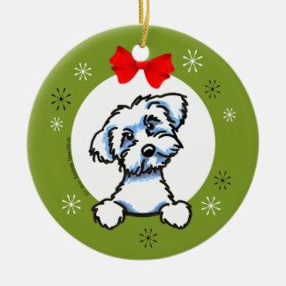 Navidad maltés del corte del perrito clásico adorno navideño redondo de cerámica