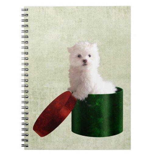 Navidad maltés del perrito libro de apuntes con espiral