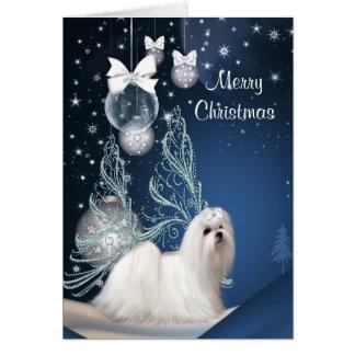 Navidad maltés del perro de perrito felicitación