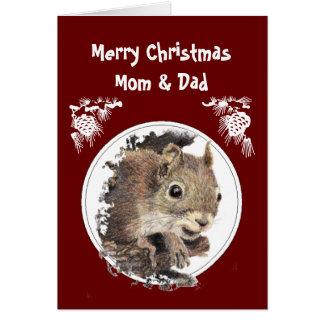 Navidad mamá y papá del manojo de nueces - ardilla tarjeta de felicitación