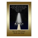 Navidad, mamá y papá, religiosos felicitacion