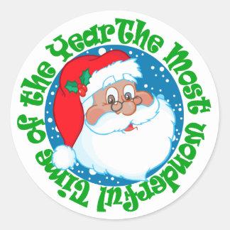 Navidad maravilloso del tiempo de Papá Noel Pegatinas Redondas