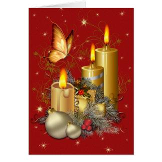 Navidad mariposa y velas tarjeta de felicitación