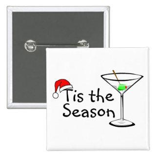 Navidad Martini Tis la estación Pin Cuadrado