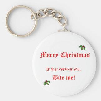 Navidad me muerde llavero redondo tipo pin