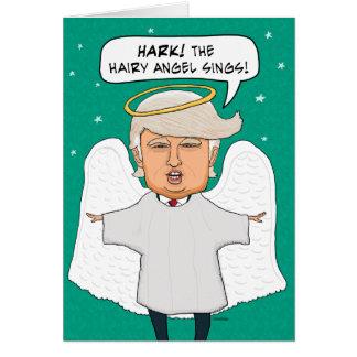 Navidad melenudo idéntico divertido del ángel de tarjeta de felicitación
