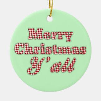 Navidad meridional que saluda Houndstooth Adorno Navideño Redondo De Cerámica