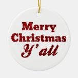 Navidad meridional que saluda Houndstooth Adornos De Navidad
