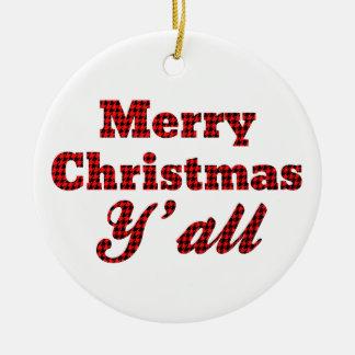 Navidad meridional que saluda Houndstooth Adorno Redondo De Cerámica