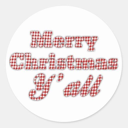 Navidad meridional que saluda Houndstooth Pegatina Redonda