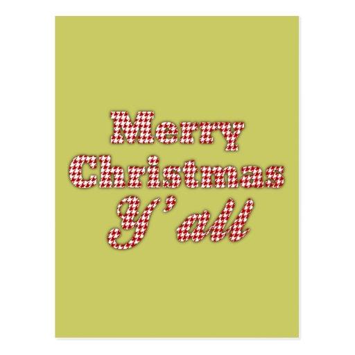 Navidad meridional que saluda Houndstooth Tarjeta Postal