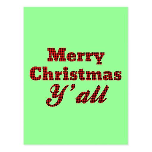 Navidad meridional que saluda Houndstooth Tarjetas Postales