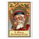Navidad *Merry Santa* del vintage Tarjetón