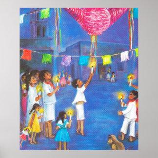 Navidad mexicano, niños y pinatas póster