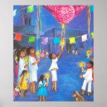 Navidad mexicano, niños y pinatas posters