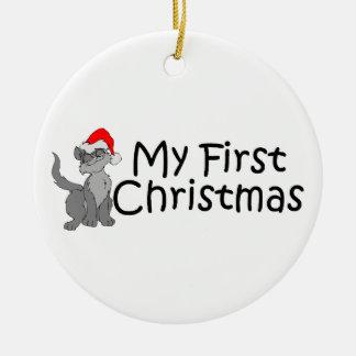Navidad mi primer gatito del navidad adorno navideño redondo de cerámica