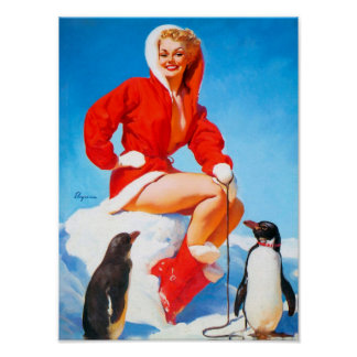 ¡Navidad modelo con los pingüinos! Póster