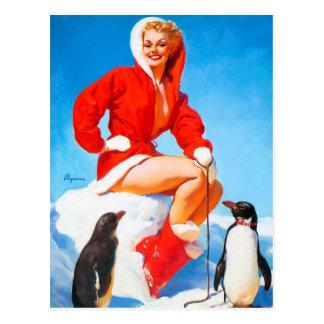 ¡Navidad modelo con los pingüinos! Postal