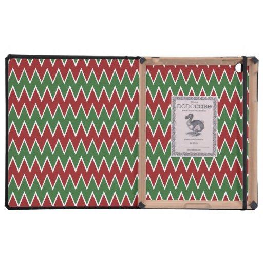Navidad modelo rojo y verde de Chevron de zigzag iPad Fundas