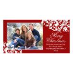 Navidad moderno del Flourish del remolino rojo y b Tarjetas Fotográficas