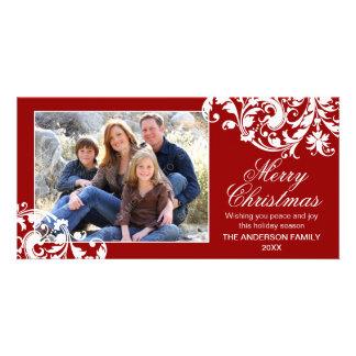 Navidad moderno del Flourish del remolino rojo y b Tarjeta Personal Con Foto