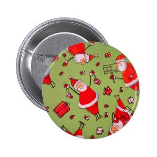 Navidad moderno Santa y actual modelo Pin Redondo De 2 Pulgadas
