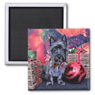 Navidad - mojón Terrier - joya Imán Para Frigorifico