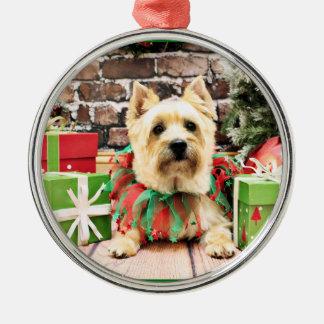 Navidad - mojón Terrier - Lola Adorno Redondo Plateado