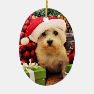 Navidad - mojón Terrier - Roxy Adorno Ovalado De Cerámica