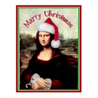 Navidad Mona Lisa con el gorra de Santa Postales
