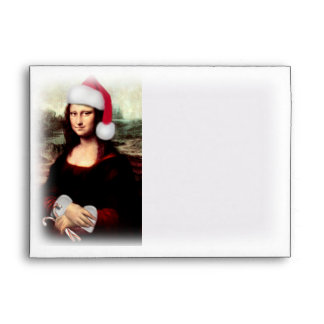 Navidad Mona Lisa con el gorra de Santa Sobre