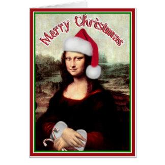 Navidad Mona Lisa con el gorra de Santa Tarjeta De Felicitación