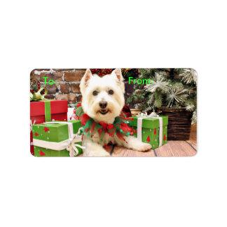 Navidad - montaña del oeste Terrier - Abby Etiqueta De Dirección