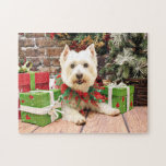 Navidad - montaña del oeste Terrier - Abby Rompecabezas Con Fotos