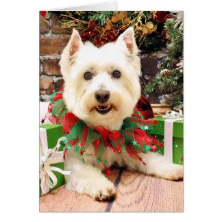 Navidad - montaña del oeste Terrier - Abby Tarjeta De Felicitación