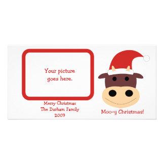 ¡Navidad MOO-y! Regalos de vacaciones y tarjetas Tarjetas Fotograficas Personalizadas