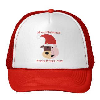 ¡Navidad MOO-y y días felices de Hoggy! Gorra