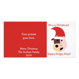 ¡Navidad MOO-y y días felices de Hoggy! Tarjeta Personal