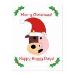 ¡Navidad MOO-y y días felices de Hoggy! Tarjeta Postal