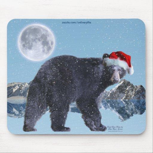 Navidad Mousepad de las nevadas del oso negro y de