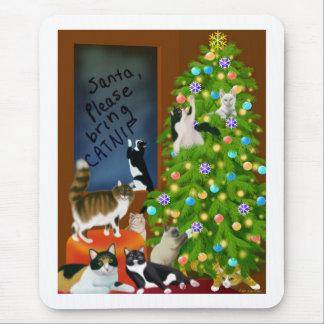 Navidad Mousepad de un gato del gatito Tapetes De Ratones